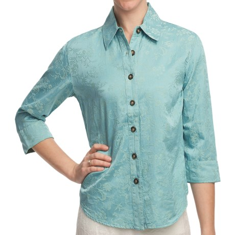 Pulp Silk-Cotton Jacquard Shirt - 3/4 Sleeve (For Women) in Surf