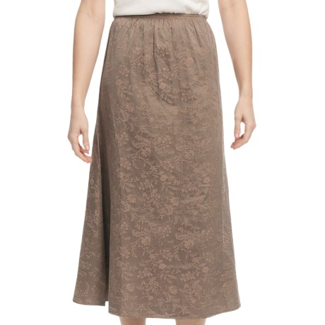 Pulp Silk-Cotton Jacquard Skirt - Elastic Waistband (For Women) in Bamboo