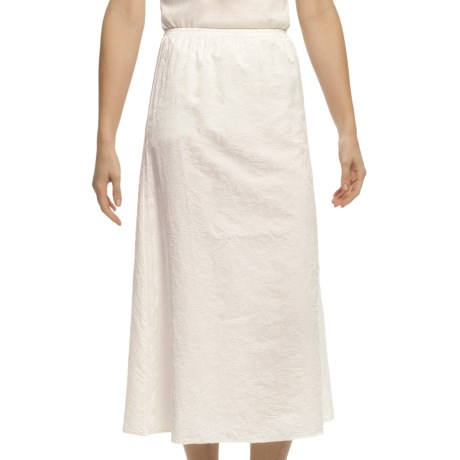 Pulp Silk-Cotton Jacquard Skirt - Elastic Waistband (For Women) in White