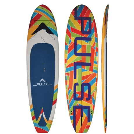"Pulse Wiggler Stand-Up Paddle Board Package with Paddle and Storage Bag - 10'4"" in Multi Abstract"
