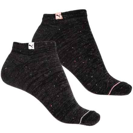 Puma 1/2 Terry No-Show Socks - 2-Pack, Below the Ankle (For Women) in Black - Closeouts