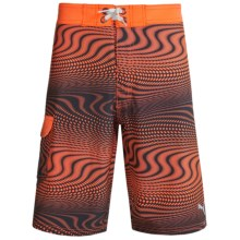 Puma Allover Print Boardshorts (For Big Boys) in Fire Orange - Closeouts
