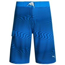 Puma Allover Print Boardshorts (For Big Boys) in Sky Blue - Closeouts