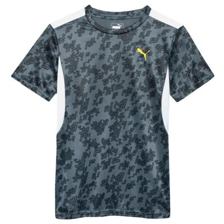 Puma Allover Print Heather T-Shirt - Short Sleeve (For Big Boys) in Castor Grey
