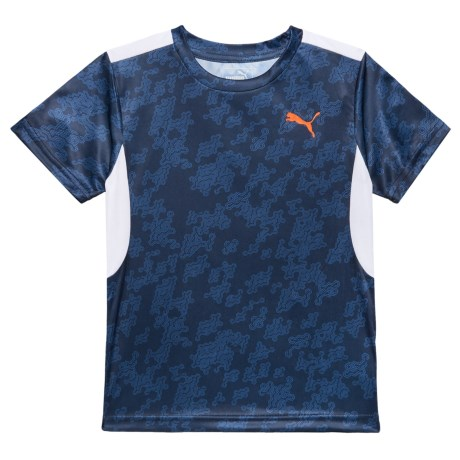 Puma Allover Print High-Performance T-Shirt - Short Sleeve (For Little Boys) in Peacoat