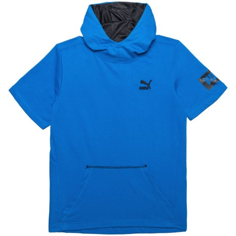 Puma Archive Logo Hoodie - Short Sleeve (For Big Boys) in Turkish Sea