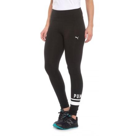 1880f17ea605a7 Puma Athletic Logo Leggings (For Women) in Cotton Black-White - Closeouts