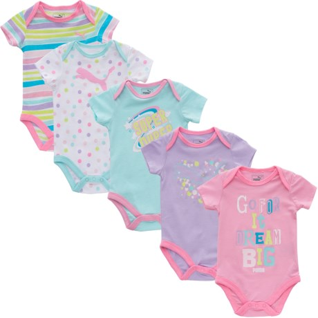 Puma Baby Bodysuit - 5-Pack, Short Sleeve (For Infant Girls) in Pink/Blue