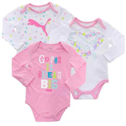 Puma Baby Bodysuit Set - 3-Pack, Long Sleeve (For Infant Girls) in Pink/White - Closeouts