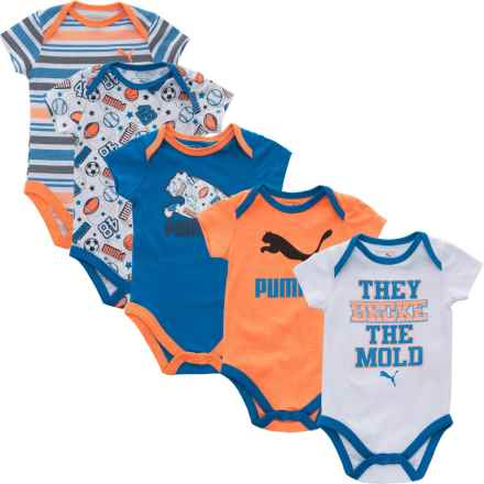 Puma Baby Bodysuit Set - 5-Piece, Short Sleeve (For Infants) in Orange/Blue/White - Closeouts