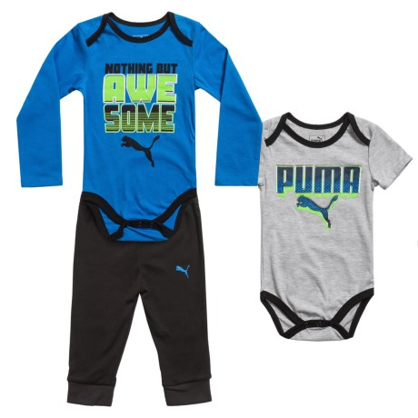 Puma Baby Bodysuits and Pants Set - 3-Piece (For Infants and Toddlers) in Grey/Turquoise/Black