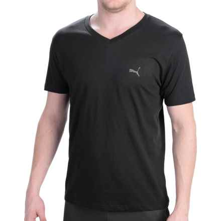 Puma Basic V-Neck T-Shirt - Short Sleeve (For Men) in 001 Black - Closeouts