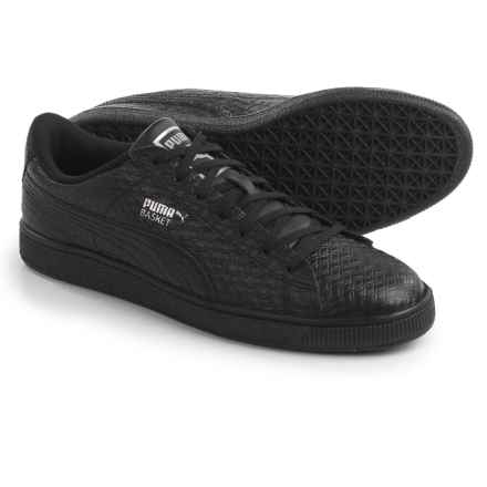Puma Basket Classic B&W Sneakers - Leather (For Men) in Puma Black - Closeouts