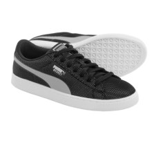Puma Basket Mesh Sneakers (For Men) in Black/Limestone Grey - Closeouts