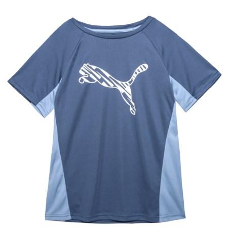 Puma Big Logo Performance T-Shirt - Crew Neck, Short Sleeve (For Big Boys) in Blue Indigo