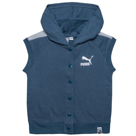 Puma Button-Down Hoodie - Short Sleeve (For Big Girls) in Sargasso Sea