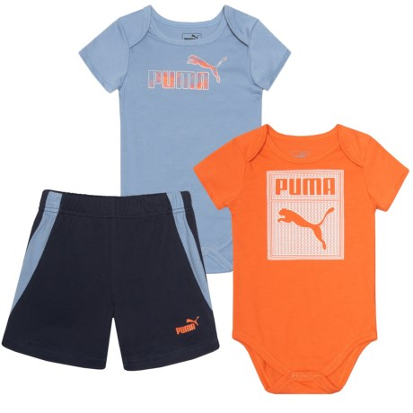 Puma Cat Baby Bodysuits and Shorts Set - 3-Piece, Short Sleeve (For Infant Boys) in Infinity
