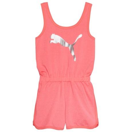 Puma Cat Logo Romper - Sleeveless (For Little Girls) in Soft Flu Peach Heather