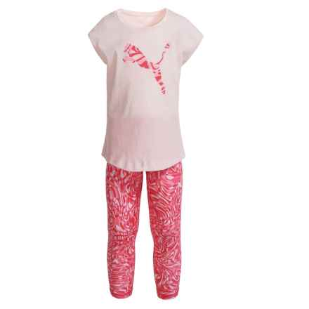 Puma Cat T-Shirt and Capris Set - Short Sleeve (For Toddler Girls) in Pearl - Closeouts
