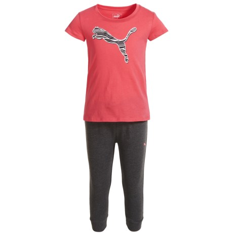 Puma Cat T-Shirt and Joggers Set - Short Sleeve (For Little Girls) in Paradise Pink