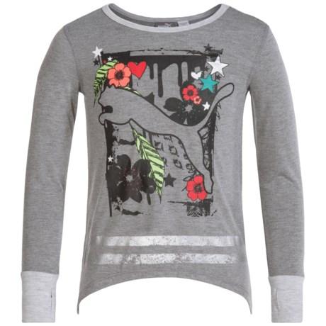 Puma Cat T-Shirt - Long Sleeve (For Big Girls) in Medium Heather Grey
