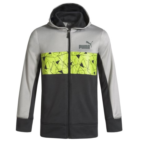 Puma Color-Block Fleece Hoodie - Full Zip (For Boys) in Coal/Lime/Light Greycoal/Lime/Light Grey