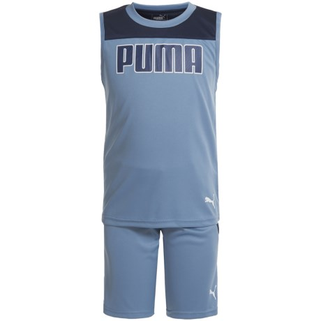 Puma Color-Block Muscle Shirt and Shorts - Sleeveless (For Little Boys) in Infinity