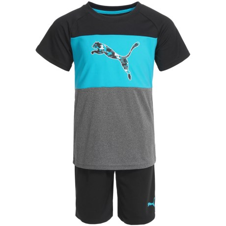 Puma Color-Block T-Shirt and Shorts - Short Sleeve (For Little Boys) in Blue Atoll