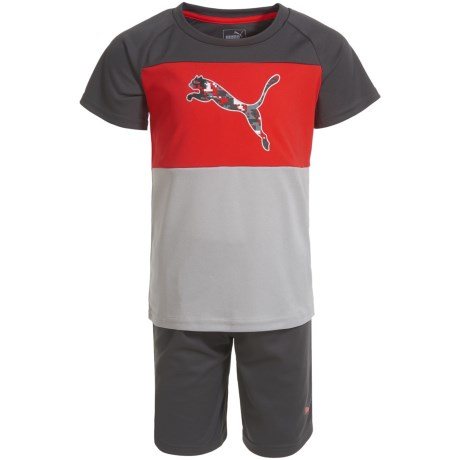 Puma Color-Block T-Shirt and Shorts - Short Sleeve (For Little Boys) in Flame Scarlet