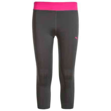 Puma Color-Block Tech Capris (For Big Girls) in Pink Glo - Closeouts
