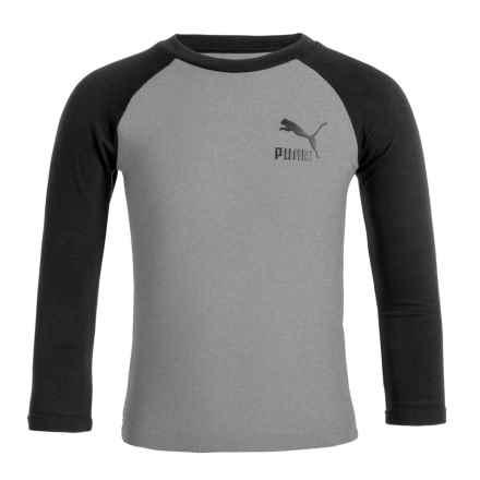 Puma Color-Blocked Logo T-Shirt - Long Sleeve (For Little Boys) in Charcoal - Closeouts