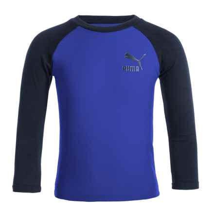 Puma Color-Blocked Logo T-Shirt - Long Sleeve (For Little Boys) in Royal Blue - Closeouts