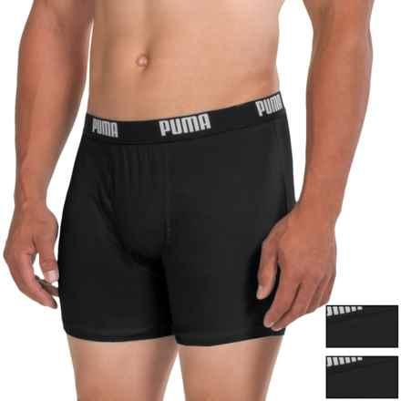 Puma Cotton Blend Boxer Briefs - 3-Pack (For Men) in Black - Closeouts