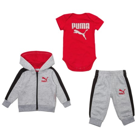 Puma Cotton Fleece Hoodie, Joggers and Baby Bodysuit Set (For Newborns) in Light Heather Grey