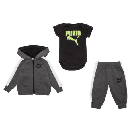 Puma Cotton Fleece Hoodie, Joggers and Baby Bodysuit Set (For Newborns)