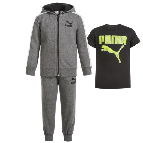 Puma Cotton Fleece Hoodie, T-Shirt and Pants Set (For Infants) in P011/Charcoal Heather