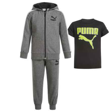 Puma Cotton Fleece Hoodie, T-Shirt and Pants Set (For Toddlers) in P011/Charcoal Heather - Closeouts