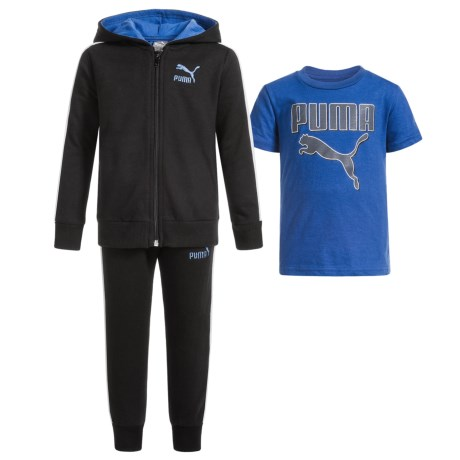 Puma Cotton Fleece Hoodie, T-Shirt and Pants Set (For Toddlers) in Puma Black