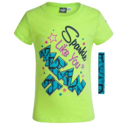 Puma Crew T-Shirt with Headband - Short Sleeve (For Big Girls) in Lime Green/Blue - Closeouts