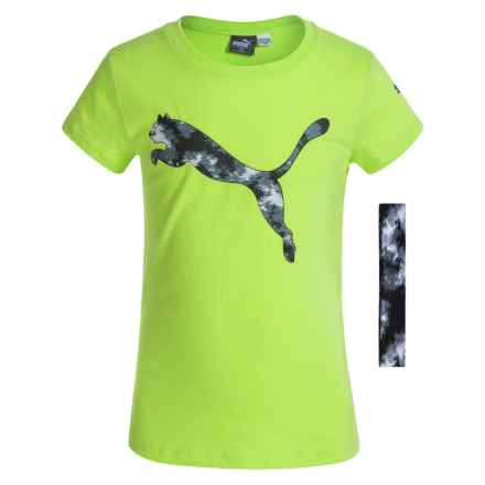Puma Crew T-Shirt with Headband - Short Sleeve (For Big Girls) in Soft Flou Yellow - Closeouts