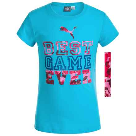 Puma Crew T-Shirt with Headband - Short Sleeve (For Little Girls) in Blue Atoll - Closeouts