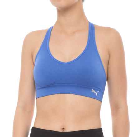 Puma Dance Seamless Sports Bra - Low Impact, Removable Cups (For Women) in Dark Blue - Closeouts