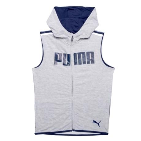 Puma Dimico Logo Hooded Vest (For Big Boys) in Light Heather Grey