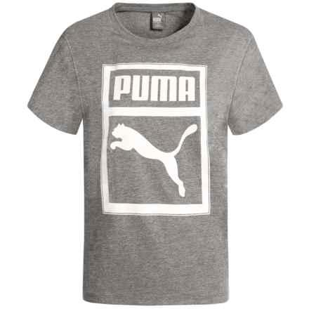 Puma Drop Shoulder Easy-Fit T-Shirt - Short Sleeve (For Big Girls) in Medium Heather Grey - Closeouts