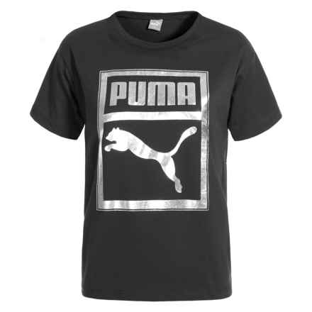 Puma Drop Shoulder Easy-Fit T-Shirt - Short Sleeve (For Big Girls) in Puma Black - Closeouts