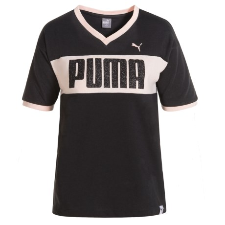 Puma Drop Shoulder V-Neck T-Shirt - Short Sleeve (For Little Girls) in Puma Black