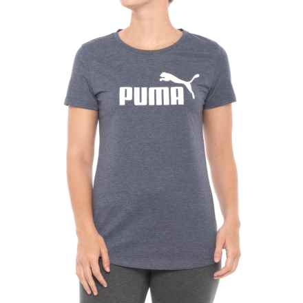 Puma Elevated Essential Logo Heather T-Shirt - Short Sleeve (For Women) in Peacoat Heather - Closeouts
