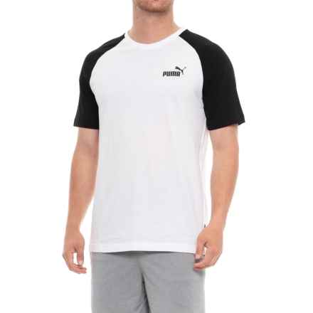 Puma Elevated Essential Raglan T-Shirt - Short Sleeve (For Men) in Puma White - Closeouts
