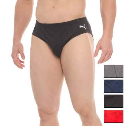 Puma Essential Low-Rise Briefs - 5-Pack (For Men) in Black/Red/Black/Grey/Navy - Closeouts