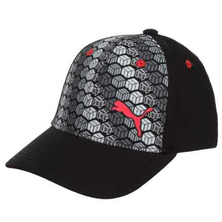 Puma Evercat Forward Baseball Cap - Touch-Fasten Adjustable (For Kids) in Black/Grey - Closeouts